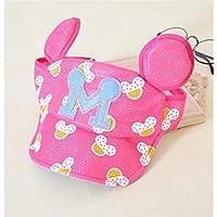 FOUGNOGKISSS Cute Baby Ear Style Cap Al Aire Libre Sun Visor Transpirable Sun Hat Vacío Top Hat para 6-36 Meses (Color : Rosy, tamaño : 48-52cm)
