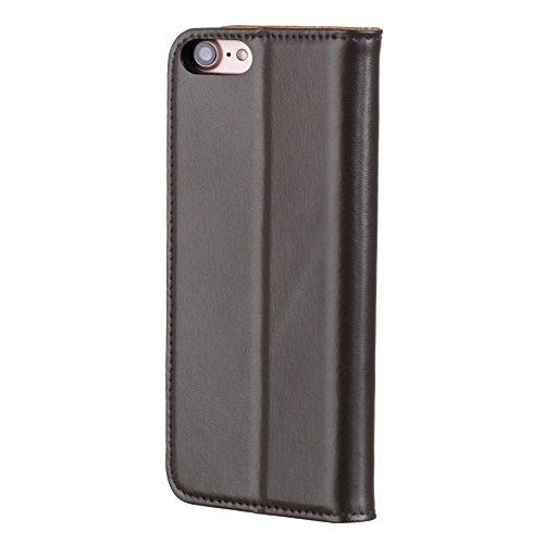 iPhone 8 / iPhone 7 Ledertasche / Hülle aus echtem, dünnem Leder, mit Standfunktion und Bargeld / Visitenkartenslot, außen schwarz, innen braun von TORRO Außen schwarz, Innen braun