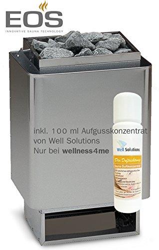 Well Solutions® Eos 34A Saunaofen 7,5 kW, Made in Germany, Wandausführung, Edelstahl inkl. Steine