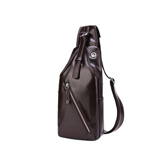 BZLine® Männer Mode Casual Männer Tote Bag Brust Tasche Messenger Bag, 14cm*7cm*30cm Braun
