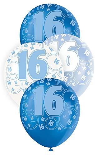Unique Party Latex-Luftballons für den Geburtstag, glitzernd, 30,5cm, 6Stück (Sixteen Sweet Supplies Party)