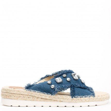 Ideal Shoes - Mules en jeans incrustées de strass Aalya Marine