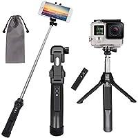 Peyou Palo Selfie Trípode para Teléfono Móvil y Gopro, [3 en 1 ] Extensible con Obturador Remoto Recargable + GoPro Adaptador para iPhone,Android Samsung, GoPro (Negro)