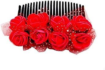 Sanjog Vintage Style dark Pink 8 Flower Comb Clip For Women For Wedding/Party