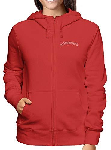 T-Shirtshock Sweatshirt Damen Hoodie Zip Rot WC0465 Liverpool Liverpool Fenway