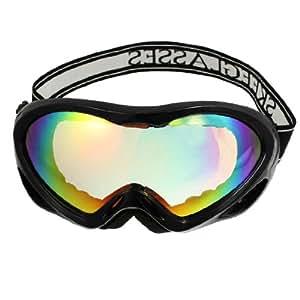 Mirrored Lens Full Frame Snow Ski Goggles Black for Woman Man