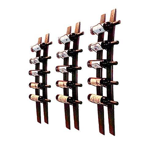 XBSD 3 Pcs 5 Flasche Wand montiert Wein Rack, Fass Stab Holz Wein Flasche Halter Rack, stilvolle Moderne Wein Lagerung perfekt für Küchen Esszimmer Etc. -