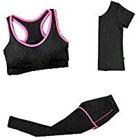 Blancho Bedding High Impact Workout Gym Activewear, Women's 3 Piece Activewear Set XL
