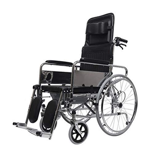 LUNYI Faltbarer Rollstuhl Mit Eigenantrieb , Erweiterte Rückenlehne Kann Als Pflegebett Mit Toilettenfunktion Verwendet Werden