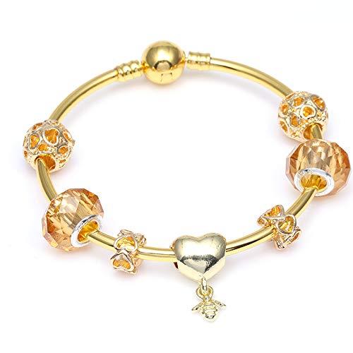 18ee65047db4 GSYDSZ Color Plata Love and Bees Colgante Pulsera de la Marca para Las  Mujeres Gold European