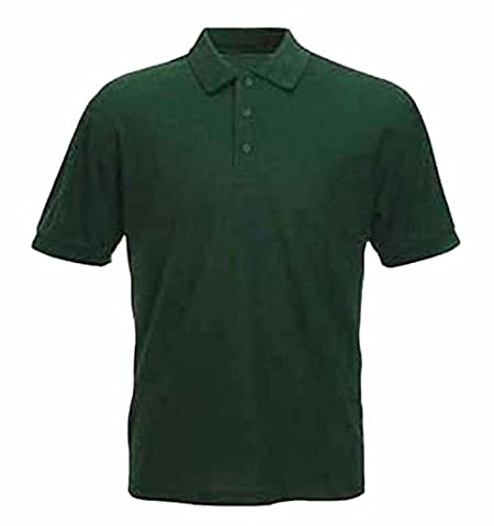Mens 100% Cotton Rich Polo T Shirts Sizes XS to 4XL (XL - EXTRA LARGE, BOTTLE GREEN)