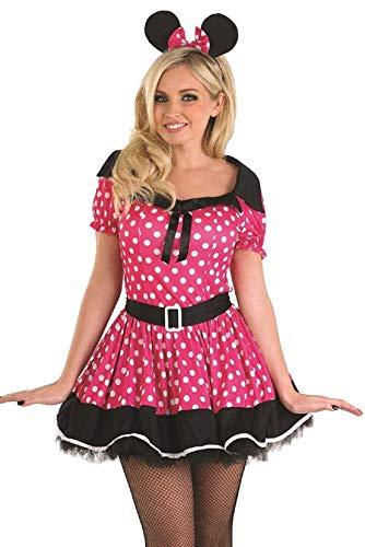 Minnie Übergröße Kostüm - Fancy Me Damen rosa Fräulein Minnie Maus Party Kostüm Outfit 8-22 Übergröße - Rosa, 20-22