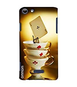 Omnam Three Cups Of Cards Game Printed Designer Back Cover Case For Micromax Selfie 3 Q348