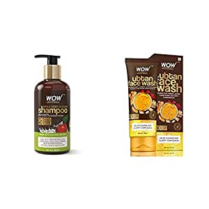 Wow Apple Cider Vinegar No Parabens & Sulphate Shampoo, 300Ml And Wow Skin Science Ubtan Face Wash With Chickpea Flour, Turmeric, Saffron, Almond Extract, Rose Water