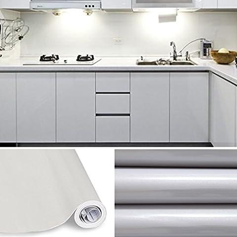 KINLO® Tapeten küche Grau 61x500cm aus hochwertigem PVC klebefolie aufkleber küchenschränke Wasserfest aufkleber für schrank selbstklebende folie Küchenschrank küchenfolie Dekofolie 2 Jahren Garantie