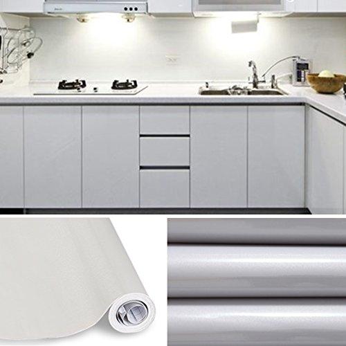 AuraLum® 5M Selbstklebend Tapeten Wandplakate für Küche Möbel Schrank Aufkleber Papier PVC Wandaufkleber - Grau (Papier-möbel)