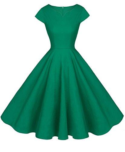 FAIRY COUPLE 1950S Retro Rockabilly Tupfen Kappen Hülsen Abschlussball Kleid DRT019(L,Grün)