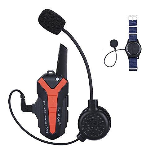 BOBLOV Interfono Bluetooth Moto Auricolare Cuffie Microfono Citofono per Casco Moto Vivavoce connesione contemporaneamente