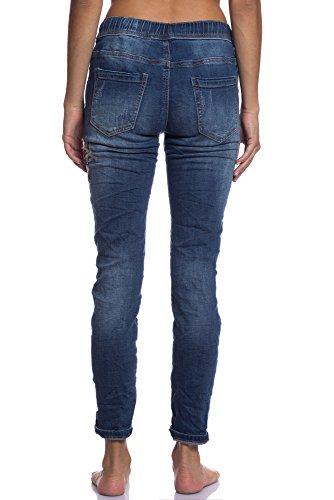 Abbino 3D-7089 Jeans con Tieback e Motivo Floreale Donne - Made in Italy - 1 Colore - Autunno Inverno Elasticizzati Collant Slim Fit Casual Libero Vita Alta Stretti Denim Skinny Slim Blu jeans