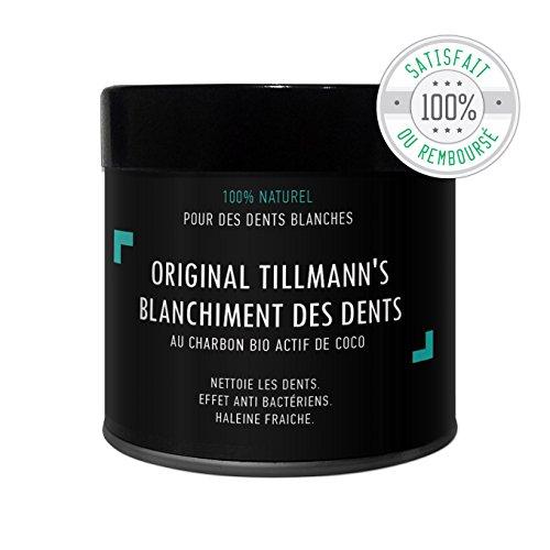 Tillmann's Poudre de Charbon Blanchissante-Charbon Dent Blanche -Activated Charcoal Teeth Whitening -Pour un Sourire blanc et éclatant / Charbon actif 100% Naturel de Noix de Coco