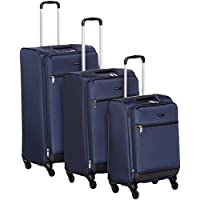 "AmazonBasics Softside Trolley Luggage - 3 Piece Set (21"", 25"", 29""), Navy Blue"