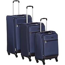 """AmazonBasics Softside Trolley Luggage - 3 Piece Set (21"""", 25"""", 29""""), Navy Blue"""