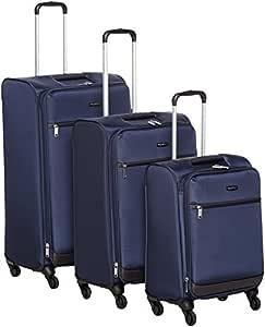 AmazonBasics Set of 3 (53 cm + 64 cm + 74 cm) Navy Blue Softsided Trolleys