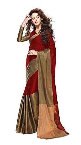 Trendz Women\'s Maroon cotton Silk Saree(TZ_Vishwa_Maroon)