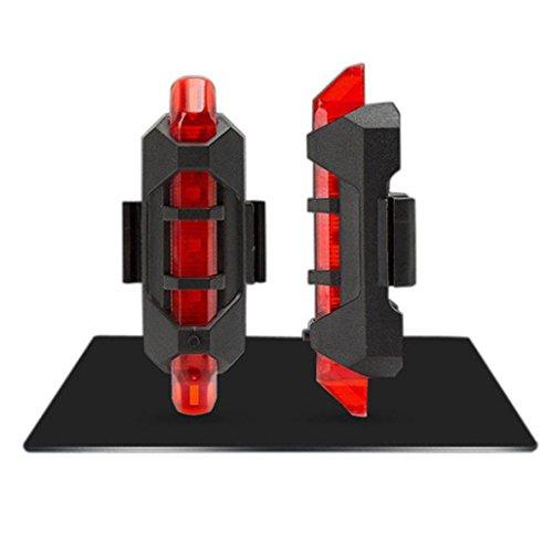 Neu LED Fahrradbeleuchtung Goosun Fahrrad Schwanz Licht Radfahren 5 LED USB Wiederaufladbar Fahrrad Rückseite Warnung Sicherheit Fahrradlicht Rücklicht Fahrradlampen Wasserdicht (Rot) (Blaue Led Rückseite Licht-lampen)