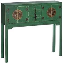 AXIDECOR - Mueble Auxiliar - Recibidor ORIENTE Verde 4 Puertas 3 Cajones - iBERGADA