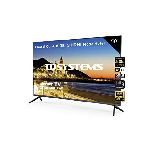 Televisor Led 50 Pulgadas Ultra HD 4K Smart, TD Systems K50DLX9US. Resolución 3840 x 2160, HDR10, 3X HDMI, VGA, 2X USB, Smart TV.