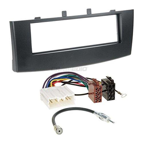 MITSUBISHI COLT 08-12 1 DIN Kit de montage autoradio avec câble, adaptateur et façade d'autoradio en noir