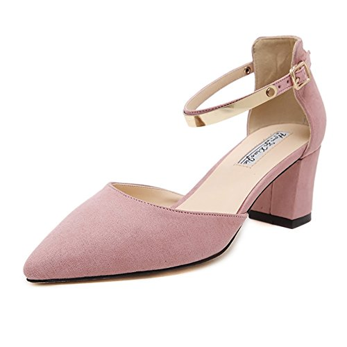 meeshine-womens-ladies-low-mid-block-heel-sandals-ankle-strap-pointed-toe-court-shoes-new-pink-3-uk