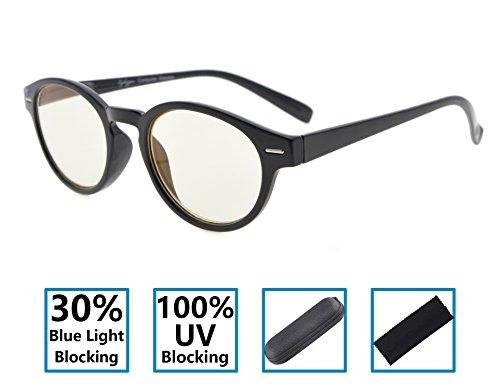 Gr8Sight Vintage Schlüsselloch-Art-runder Feld-Frühlings-Scharniere Specs 30% blaues Licht-Blockierung, 100% UVschutz-Computer-Lesegläser Gelbes Objektiv Schwarz +2.25 (Blau Schlüsselloch)
