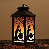 AIPINQI Halloween Lamp, Simulation Flame Witch Skeleton Hanging Flame Lamp LED Oil Lamp Desktop Ornament Decor Halloween Party Festival Decoration Halloween Light, Witch