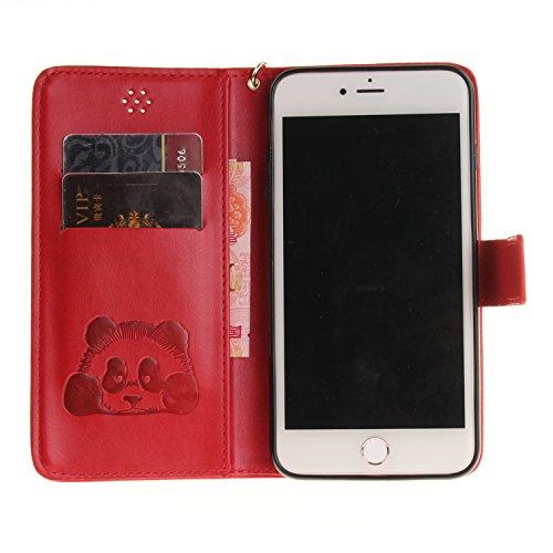 Custodia iPhone 7 Plus Case, SsHhUu Cover Portafoglio in Vera Pelle [Carta Fessura] [Magnetica Chiusura] con Penna Capacitiva e Lanyard per Apple iPhone 7 Plus / iPhone 8 Plus (5.5) Oro Rosso