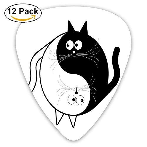 Niedliche Katzen kuscheln umarmt Einheit Ying Yang Zeichen Cartoon Tiere Plektren 12 Pack Für E-Gitarre, Akustikgitarre, Mandoline und Bass