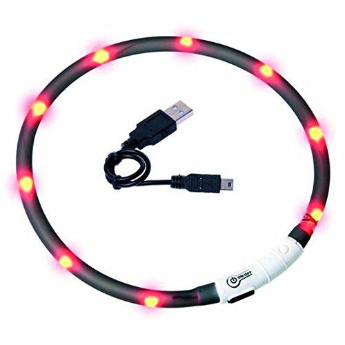 Visio Light - LED Halsband Hundesicherheit Hunde Leuchthalsband Innovation: ohne Batterien -universell kürzbar -Schwarz
