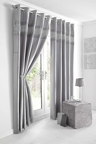 SILVER GREY & DIAMANTE PANEL - LINED CURTAINS WITH EYELET RING TOP 66 x 72