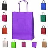 20poignées torsadées Sacs en papier Kraft Sacs Sacs de fête–4tailles, Choisissez votre Couleur et taille, violet, Xsmall