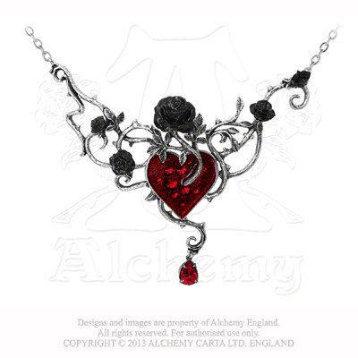 Alchemy Gothic Bed Of Blood-Roses Necklace - low-cost UK light shop.