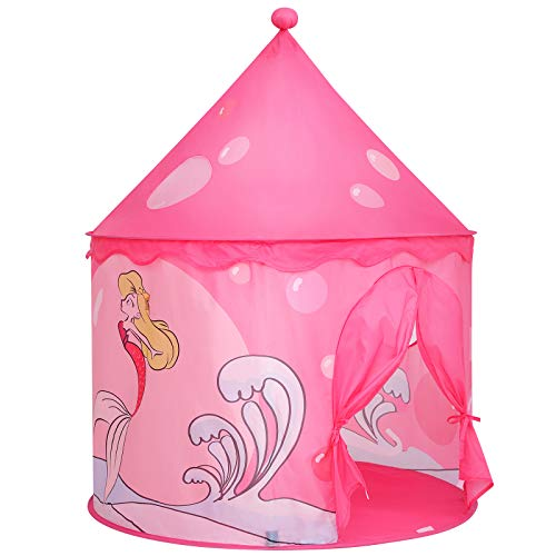 SONGMICS Spielzelt für Kleinkinder, Kinderzelt für innen und außen, tragbares Pop-up Indianerzelt mit Tragetasche, Meerjungfrau, Privatraum für bis zu 3 Kinder LPT02KR