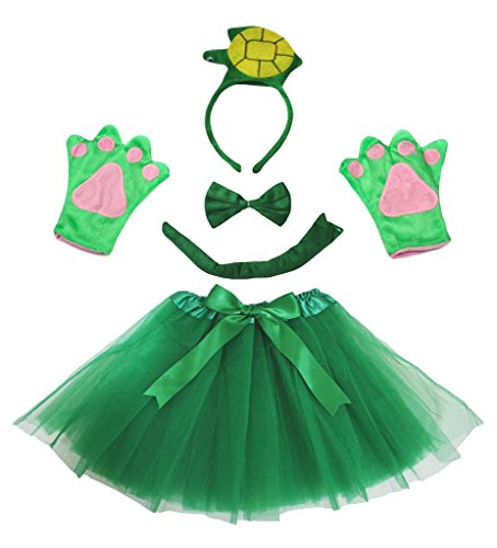 Petitebelle 3D Green Turtle Headband Bowtie Tail Gloves Tutu 5pc Lady Costume (One Size)