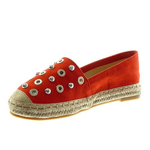 Angkorly Damen Schuhe Espadrilles - Slip-On - Perforiert - Nieten - Besetzt - Perle Blockabsatz 2.5 cm Rot