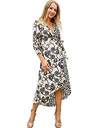 794fc06050e3 Womens Leopardo Stampa Cuciture Manica Lunga Lace-up Irregolare Maxi  Camicia Vestito