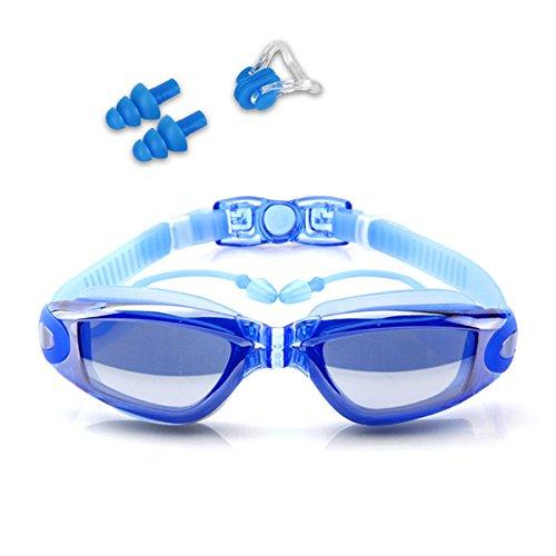 Guzack Schwimmbrille, Anti-Fog UV-Schutz beschichteter Linse Kein Auslaufen Schwimmen Brillen, mit Kostenloser Nase Clip, Ohrstöpsel, für Erwachsene, Kinder Männer und Frauen