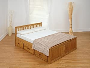 Mission Captains Storage Bed 4FT6 Double in Waxed Pine