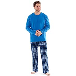 hombre polar suave ropa Cómoda Pijama Largo Manga Larga Invierno Cómodo Microfleece Azul Marino, Rojo & Azul M L XL 2x - Azul, X-Large