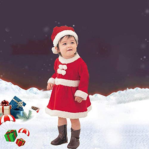 Claus Kostüm Santa Girl - Coogel Boys Girls Santa Claus Costume - Children Christmas Play Dress Up Outfit Boys Costume Set Role Playing Clothes (80cm)