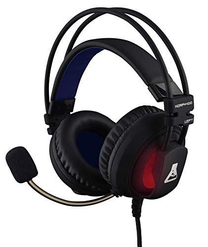 THE G-LAB Korp 400N Casque Gaming 7.1 Surround Sound - Micro Casque Gamer Audio Haute Qualité - Rétroéclairage RGB - Vibrations Intégrées - Microphone Flexible - Compatible PC PS4 Xbox One Mac (Noir)